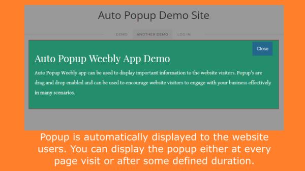 auto popup weebly app