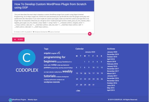 CODOMWP - Material Design WordPress Theme - Footer Design